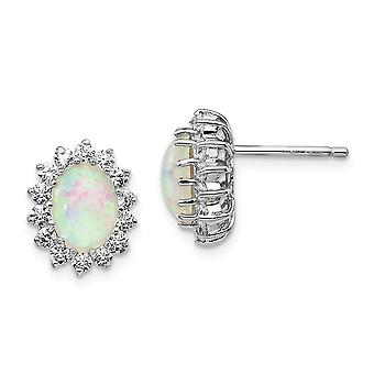 10mm Cheryl M 925 Sterling Silver Cubic Zirconia and Simulated Opal Post Earrings Jewelry Gifts for Women