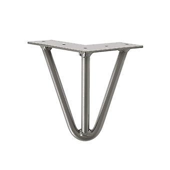 Raw steel massieve 3-punt hairpin tafelpoot 15 cm (1 stuk)