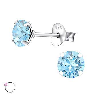 Runde Kristall aus Swarovski® - 925 Sterling Silber Ohrstecker - W28148x