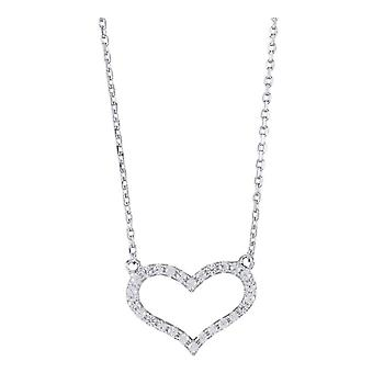 Orton herzförmige West Sparkle Halskette - Silber