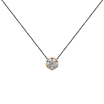 Choker Flower Cluster 18K Gold and Diamonds, on Thread - Rose Gold, Black