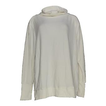 Anybody Women's Plus Top Plush Terry Cowl-Neck Long Sleeve White A345169