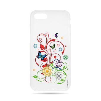 Case voor iPhone 8 transparant flexibel patroon vlinders en cirkels