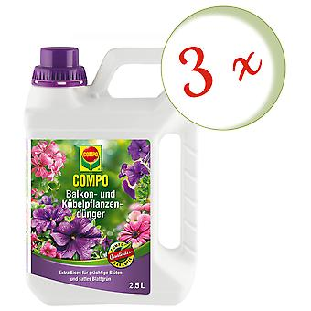 Sparset: 3 x COMPO balcony and potted plant fertilizer, 2.5 litres