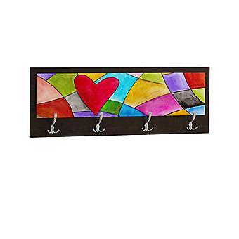 Appendiabiti Funart 5 Color Wenge in Truciolare Melaminico 70x25 cm