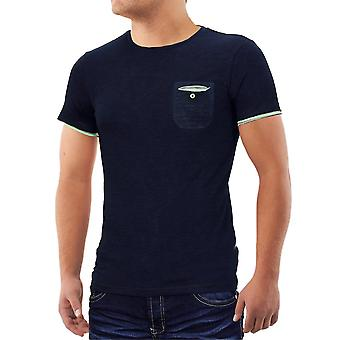 Herren Sommer Shirt T-Shirt Contrast Polo Brusttasche Clubwear Poket Tasche