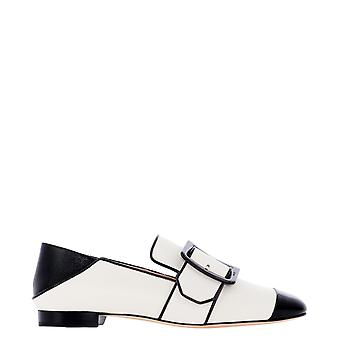 Bally 6234792 Women's White/black Leather Loafers