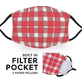 Red White Tartan - Reusable Adult Face Masks - 2 Filters Included