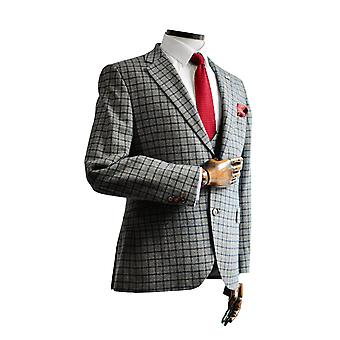 Cheyne Grey With Navy & Brown Check Suit Jacket