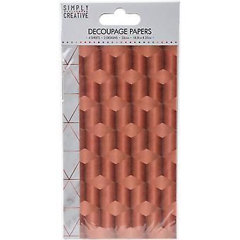 Yksinkertaisesti luova Decoupage paperin 18.8cmX35cm 4/Pkg-kupari Industrial