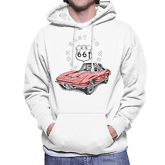 Route 66 From East To West Car Men's Hooded Sweatshirt