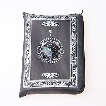 Polyester Portable Braided Muslim Prayer Rug - Simply Print With Compass In