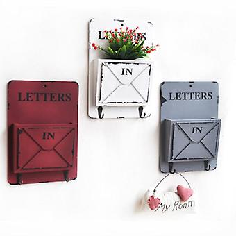 White Wall Mount Mailbox For Garden Outdoor Letter Newspaper Organizer