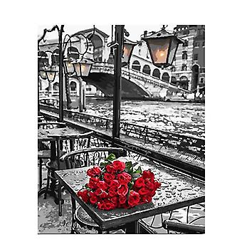 Rose Diy Painting By Numbers Acrylic Hand Painted On Canvas Picture For Wall