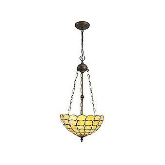 Luminosa Belysning - 3 lys Uplighter Loft Vedhæng E27 med 40cm Tiffany Shade, Beige, Klar Crystal, Aged Antik Messing