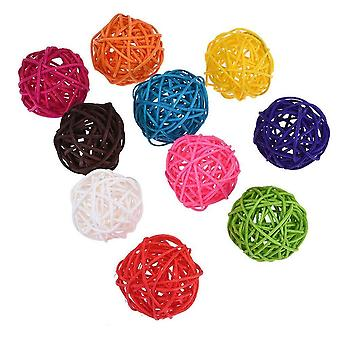 Colourful Rattan Balls Parrot Bird Interactive Bite Chew For Parakeet Budgie
