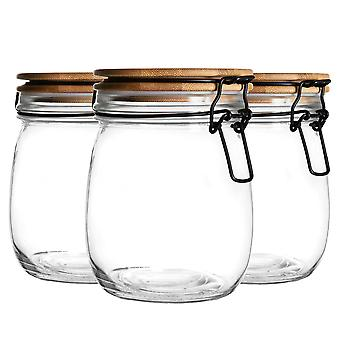 3 Piece Airtight Storage Jar with Wooden Lid Set - Round Style Glass Canister - Clear Seal - 750ml