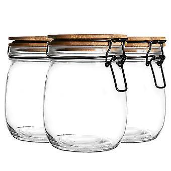 3 Stück luftdichte Aufbewahrung Jar mit Holz Deckel Set - Runde Stil Glas Kanister - klare Dichtung - 750ml