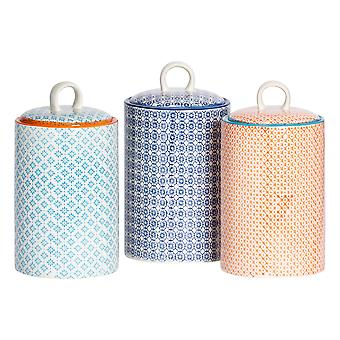 Nicola Spring 3pc Hand-Printed Tea Coffee Sugar Canister Set - Porcelana Kitchen Storage Canisters - 3 Cores - 1L
