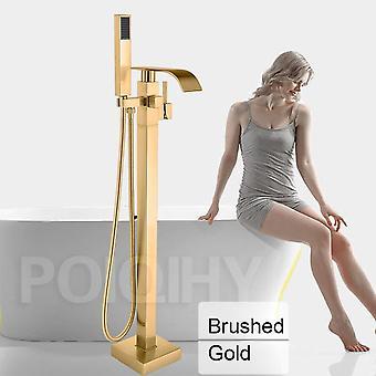 Chrome Floor Mounted Bathtub - Free Standing Bathroom Mixer Shower Faucet
