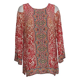 Belle by Kim Gravel Women's Top Cold Shoulder Printed Tunic Red A291221