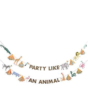 Meri Meri Safari Animals Large Garland 2 x 2.5m - Party Decoration