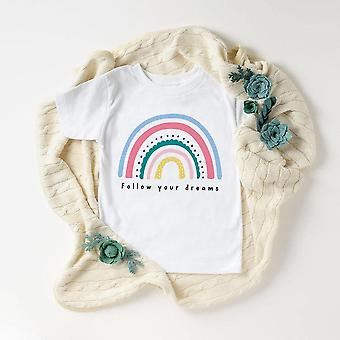 Kids Rainbow T Shirt, Faith Shirt, Summer Short Sleeve T-shirt Set-2