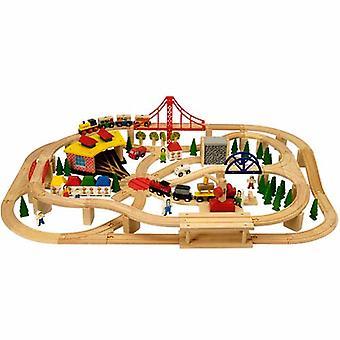 Bigjigs madera tren Freight Train Set 130pc BJT017