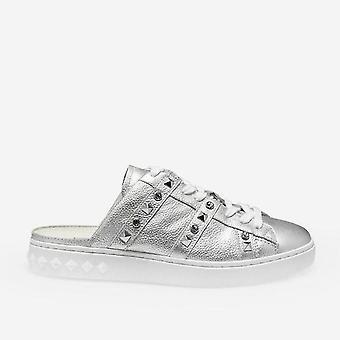 Silber Sabot Party Sneakers mit Nieten und Strass