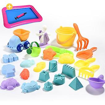 Soft Silicone Beach For Sandbox Set - Sea Sand Bucket, Rake, Hourglass, Water