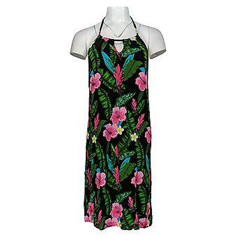 Colleen Lopez Dress Jersey Knit Floral Print Halter Black 688-986