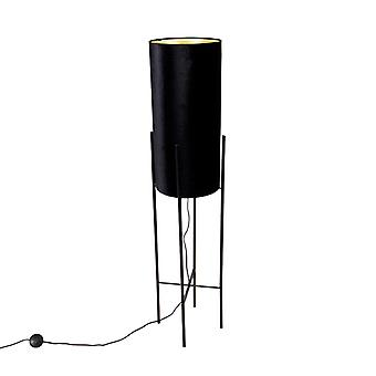 QAZQA Design floor lamp black velor shade black with gold - Rich