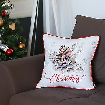 Printed Merry Christmas Decorative Pine Cone Design Pillow Cover