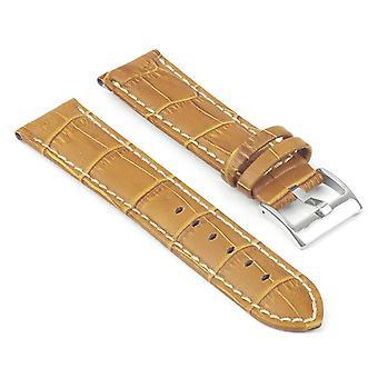 Strapsco krokodil präglade vadderad läder klockarmband med kontrast sömmar