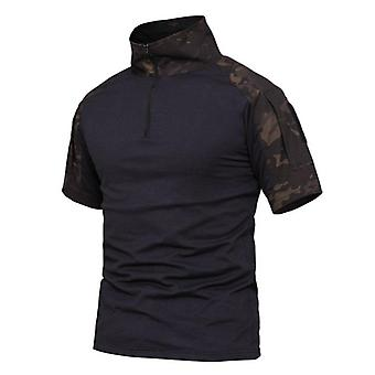 Summer Short Sleeve/combat T-shirt Ripstop Quick Dry Tactical Multicam/black