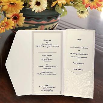 10 INARI Dandy White Applique Landscape Pocketfold Invitations
