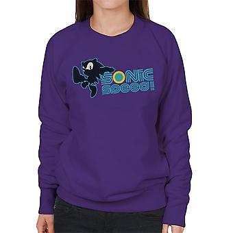 Sonic der Igel Sonic Geschwindigkeit blau Text Frauen's Sweatshirt