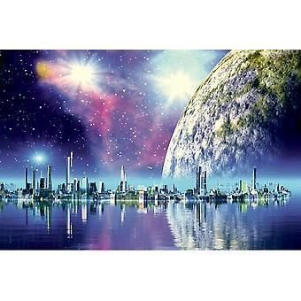 Wallpaper Mural Futuristic Floating City