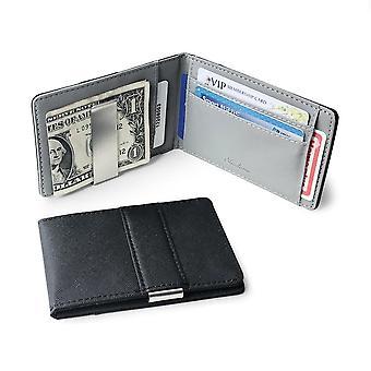 Dünne Bifold Geld Clip Leder Brieftasche