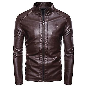 Autumn Motorcycle Causal Pu Leather Warm Jacket, Coat Men, Spring Windproof