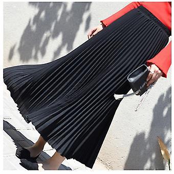Kobiety Vintage Plisowana Midi Długa Spódnica Kobieta Koreański Casual High Waist Szyfon