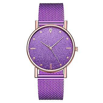 Montre-bracelet quartz de luxe, bracelet décontracté en acier inoxydable