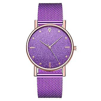 Luxury Quartz Wristwatch, Stainless Steel Dial Casual Bracelet
