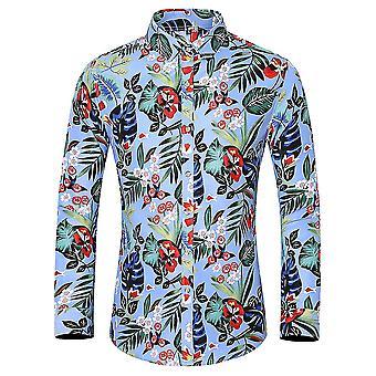 YANGFAN Men's Square Neck Long Sleeve Printed Shirt