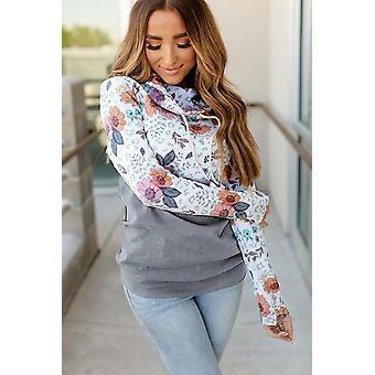Chic Floral Print Wild Thing Patchwork Cowl Neck Sweatshirt