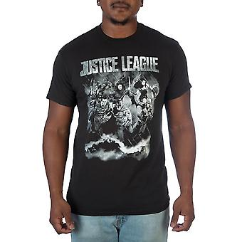 Justice league black and white photo t-shirt