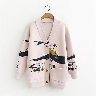 New Loose Cute Print Joker Long Sleeve Women's Knitted Jacket Sweaters
