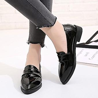 Women Shes, Autumn Flats Bowtie Loafers Patent Leather Elegant Low Heels Slip