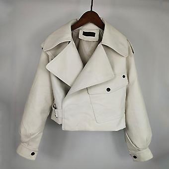 Herbst gestrickte Mini Rock hohe Taille warm Party Leder Jacke Mantel
