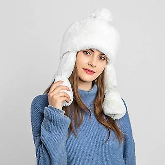 Women Knit Plush Fur Windproof Earflap Trapper Snow Ski Caps